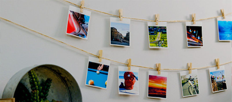 Canon Selphy Square Printer_Image of prints hanging on the wall